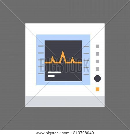 Electrocardiogram Monitor Icon Ecg Monitoring Equipment Flat Vector Illustration