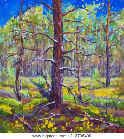 Large old tree in green forest original oil painting yellow green trees art on canvas sunny spring meadow impressionism artwork summer landscape illustration artwork