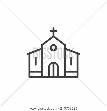 Church building line icon, outline vector sign, linear style pictogram isolated on white. Catholic church symbol, logo illustration. Editable stroke
