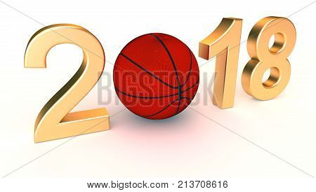 Basketball 2018 year on a White Background