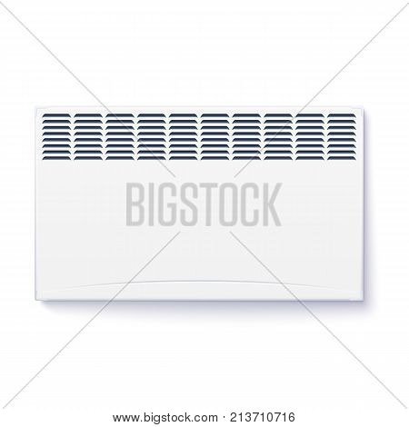 Domestic electric heater, icon of home convector, electric panel of radiator appliance for space heating isolated on white wall.