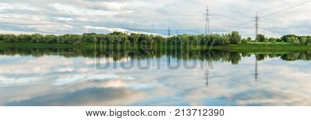 Panorama of the Langepas canal, the tributary of the Ob River. Siberia. Taiga.