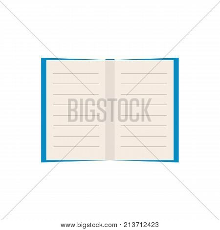 Empty vector flat book on white background. Simple colorful icon. Illustration.