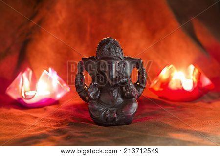 Happy Ganesh Chaturthi Greeting Card Design With Lord Ganesha Idol.