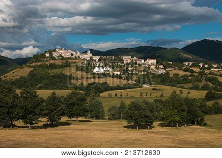 View of Monteleone di Spoleto in Umbria, Italy