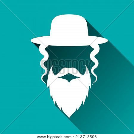 Jewish men in the traditional clothing. Ortodox Jew hat, mustache, beard. Man concept. Israel people. Flat style. Shadow. Vector illustration