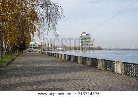 DNEPR, UKRAINE, NOVEMBER 11, 2017: Embankment of the city of Dnepr Ukraine.