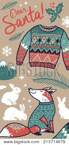 Vector Dear Santa banner vertical design with cartoon fox and rabbits