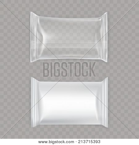 Set of vector transparent and white plastic and foil packaging for food, snacks, chips cookies candy isolated on transparent background in a realistic style. Package mockup design ready for branding.