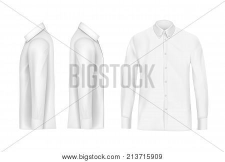 White male shirt with long sleeves and buttons in front, right and left side view, isolated on a gray background. 3D realistic vector illustration, pattern formal or casual shirt