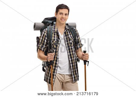 Young hiker with hiking equipment isolated on white background
