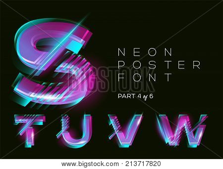 Vector Neon Typeset. Shining Trendy Letters. Fluorescent Glitch Effect. Vibrant Pink Blue Purple Colors. Bright Trendy Typography for Music Fest Casino Cinema Poster Sale Banner. Isolated.