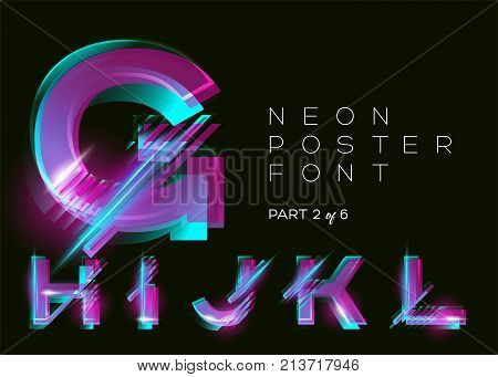 Vector Neon Typeset. Glowing Alphabet Dark Background. Glitch Effect. Vibrant Pink Blue Violet Colors. Futuristic Font for Creative Poster Night Club Invitation Sale Banner Music Fest. Isolated.