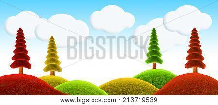 Fantastic landscape. 3D illustration. Christmas tree.