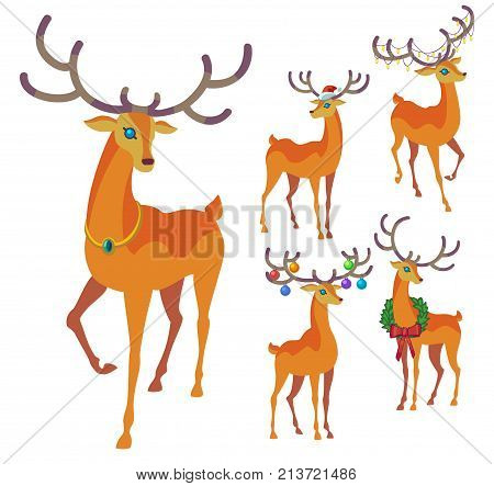 Reindeer Christmas icon. Graceful winter deer collection. Holiday vector illustration