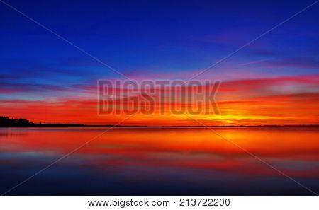 Blue Sunset Over Limfjord