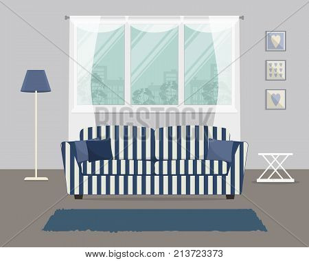 Living room with a blue striped sofa. There is a sofa with pillows and a lamp on a window background in the image. There are also pictures in frames on the wall here. Vector flat illustration.