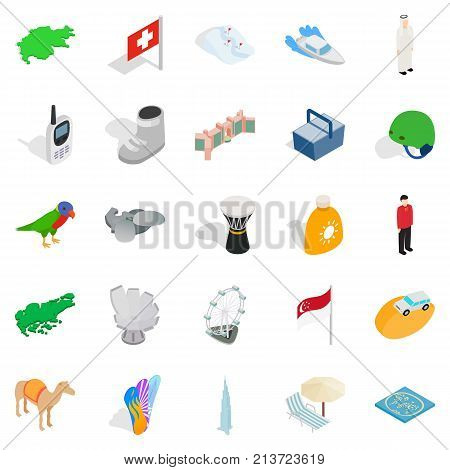 Rest spot icons set. Isometric set of 25 rest spot vector icons for web isolated on white background