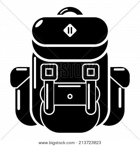 Backpack tourism icon. Simple illustration of backpack tourism vector icon for web
