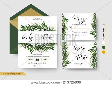 Wedding Invitation save the date rsvp invite card Design: Pine spruce tree greenery branches Eucalyptus Green leaf & berry wreath border print & golden glitter. Vector floral celebration templates