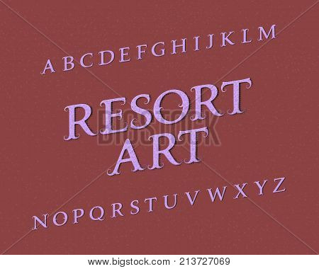 Resort Art typeface. Vintage font. Isolated english alphabet.