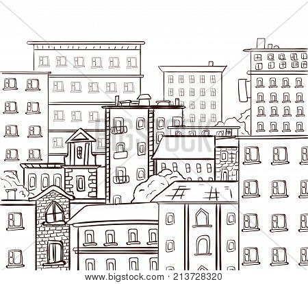 Line work, doodle city. Black lines on white background. VECTOR hand drawn sketch, black and white