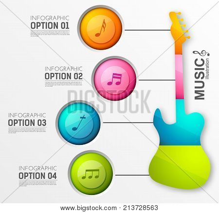 Music design infographics with four round buttons electric guitar and musical notes on light background vector illustration