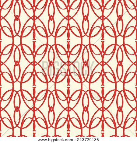 Abstract vector s mless red elements pattern with repeating grid-like structure consisting of strict repeating similar shapes and leaves vector illustration