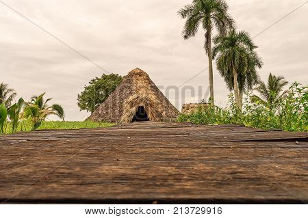 Indian Residence, reconstruction, Guam, Cuba, on the river, under the palm trees