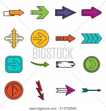 Arrow icons set. Doodle illustration of vector icons isolated on white background for any web design