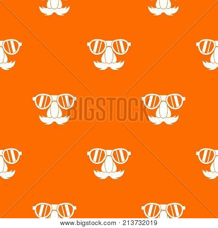 Clown face pattern repeat seamless in orange color for any design. Vector geometric illustration