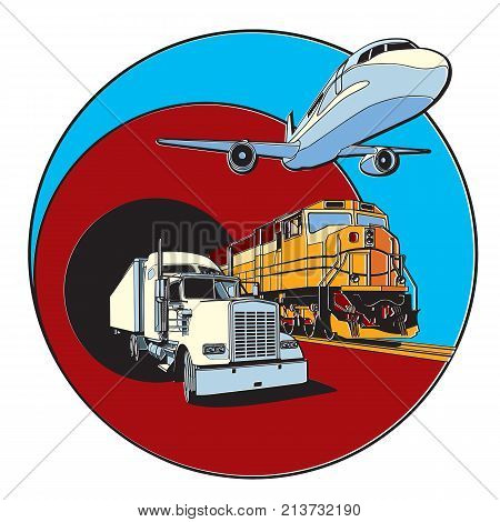Vector badge on transportations theme executed in retro print style with colors misregistration effect. Easily edit: file is divided into logical layers and groups. File doesn't contains gradients blends transparency and strokes or other special visual ef