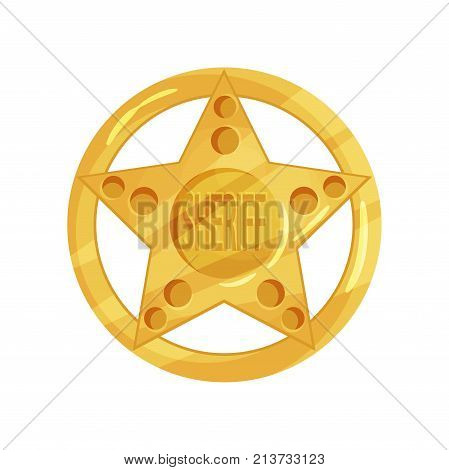 Shiny yellow police officer badge isolated on white background. Golden cop s star with circle and engraved word sheriff. Policeman jetton design. Cartoon vector illustration in flat style.