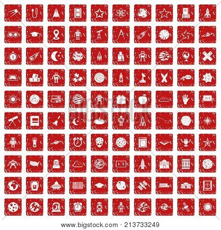 100 astronomy icons set in grunge style red color isolated on white background vector illustration