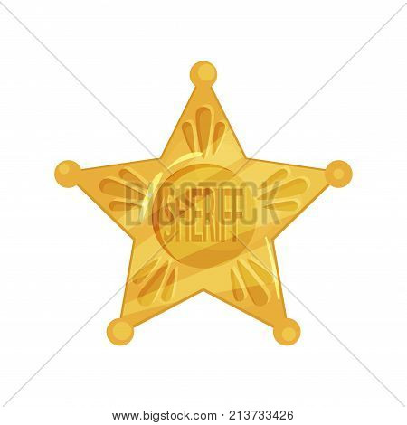 Sheriff s golden badge isolated on white background. Vintage yellow icon shape of five-pointed star. Policeman emblem. Cop token. Police icon in cartoon style. Flat design vector illustration.