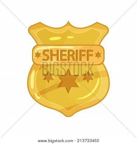 Police brass badge with stars and engraved word sheriff. Illustration of golden police service sign. Cop token icon. Vector yellow policeman emblem in flat style isolated on white background.