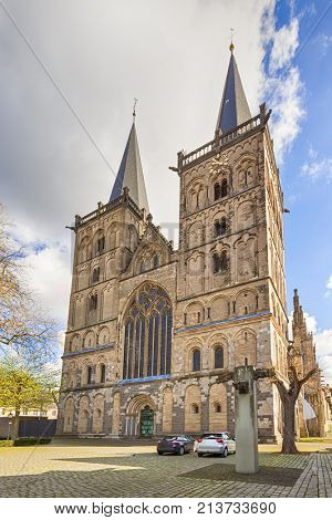 Late romanesque Saint Victor Cathedral at Xanten, western facade