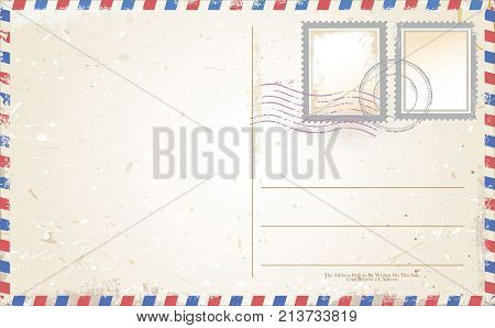 Postcard vector in air mail style vector