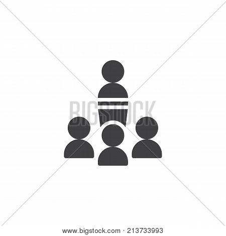 Orator speaking from tribune icon vector, filled flat sign, solid pictogram isolated on white. Business team symbol, logo illustration.