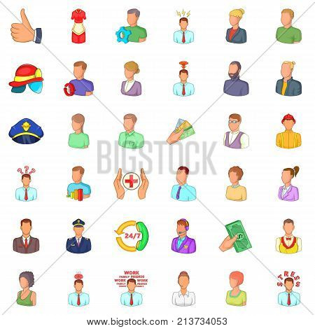 Hr icons set. Cartoon style of 36 hr vector icons for web isolated on white background
