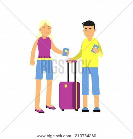 Young couple standing with suitcase and passports. Family traveling. Cartoon man and woman tourists characters waiting for departure. Airport, travel, summer vacation. Flat vector isolated on white.