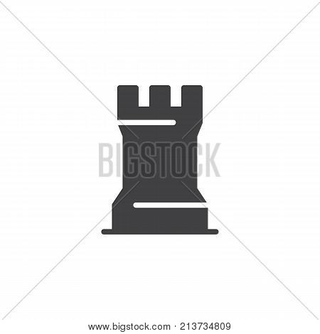 Chess game piece icon vector, filled flat sign, solid pictogram isolated on white. Rook chess figure symbol, logo illustration.