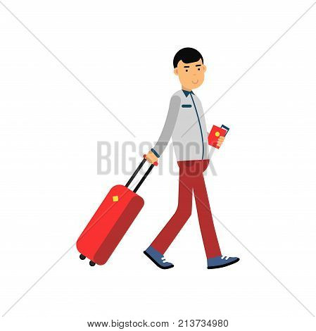 Smiling man pulling travel luggage, holding passport and ticket in hands. Cartoon tourist character walking at airport. Traveling, summer vacation concept. Flat vector illustration isolated on white.