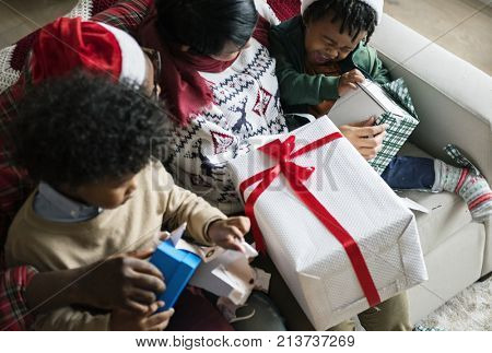 A black family enjoying Christmas holiday