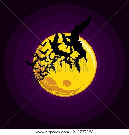 Vector, A Flying Flock Of Bats, A Yellow Big Moon In The Background