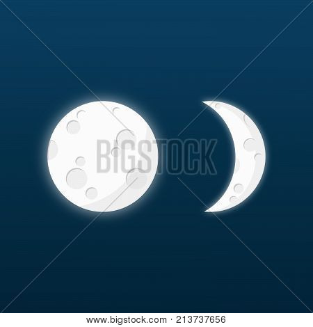 Full moon and crescent moon flat dasign style. Night space astronomy and nature moon icon. Gibbous vector on dark background. Cartoon planet moon icon.