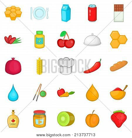 Vegetarian cuisine icons set. Cartoon set of 25 vegetarian cuisine vector icons for web isolated on white background