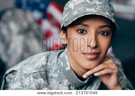 Female Soldier In Military Uniform