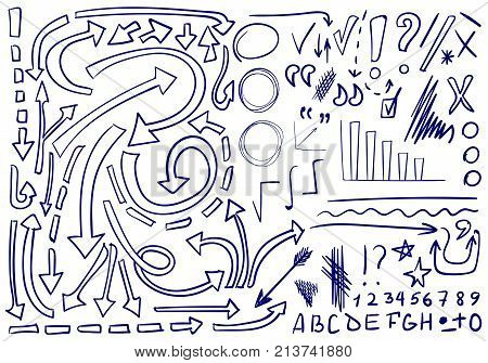 VECTOR set of hand-sketched icons. Elements for text correction or planning. Blue color, outline arrows