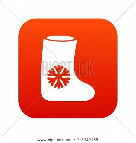Felt boots icon digital red for any design isolated on white vector illustration